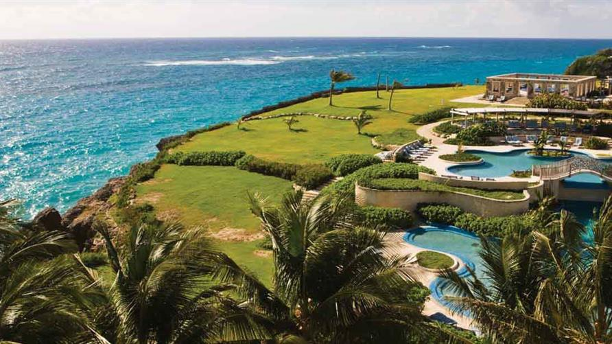 Aerial view of the 1.5-acre cliff-top pool at Hilton Grand Vacations at The Crane in Barbados.