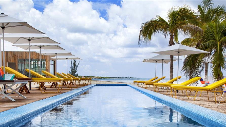 Poolside at Hilton Grand Vacations' Fiesta Americana in Cozumel Mexico.
