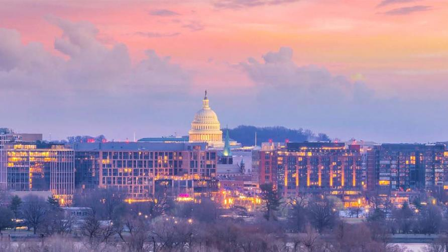 Washington, D.C skyline against pink  and blue painted skies.