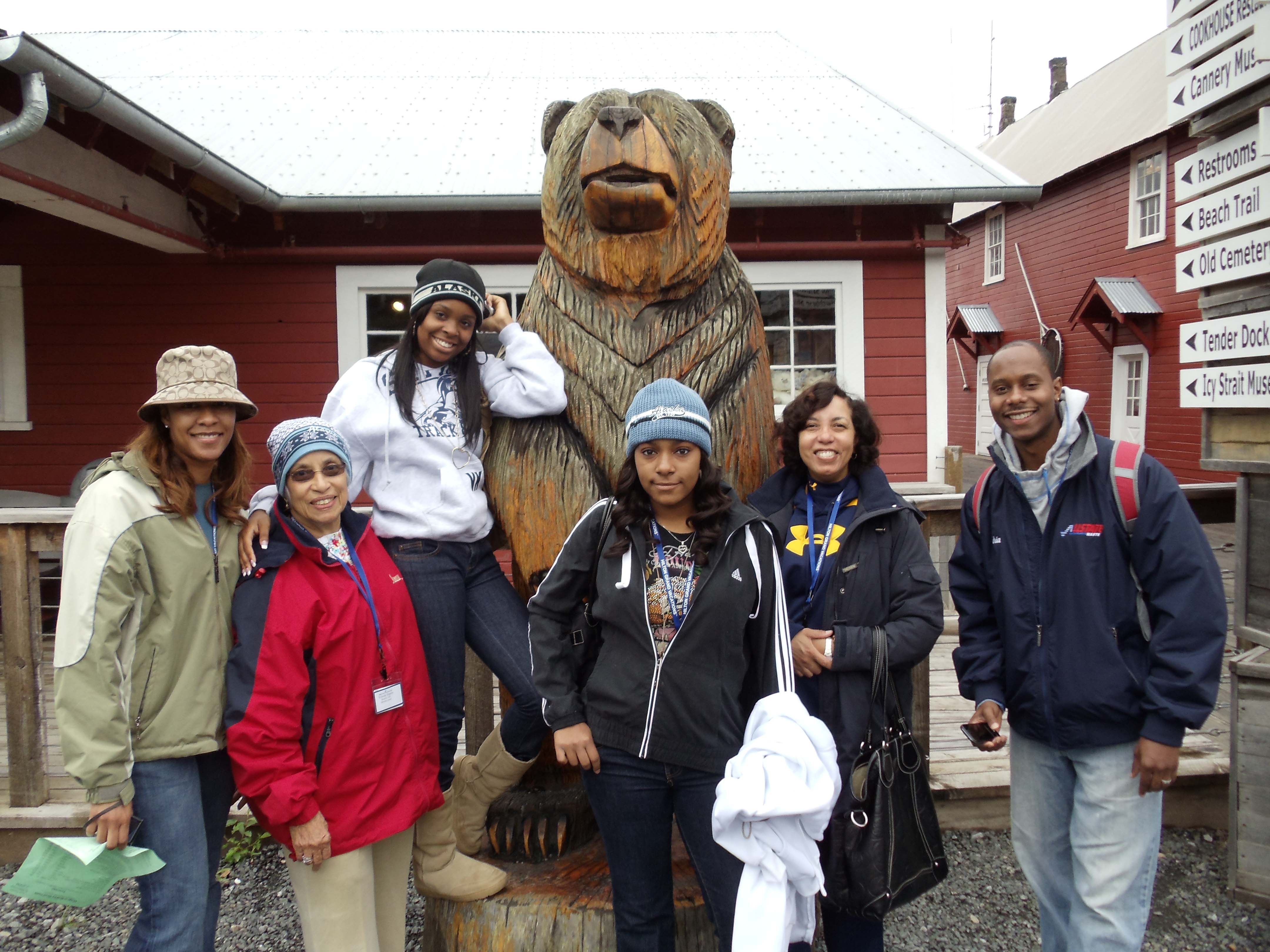 Jan with family on Alaskan cruise
