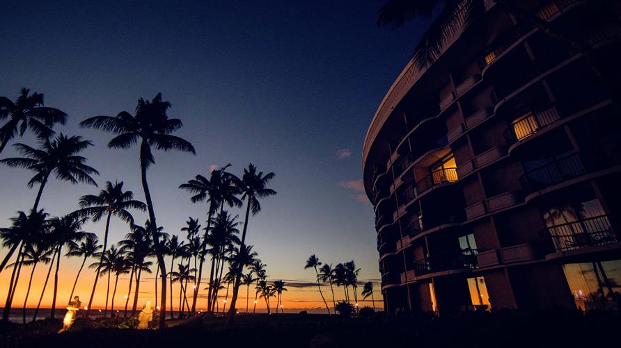 Sunset fading into night at Ocean Tower by Hilton Grand Vacations.