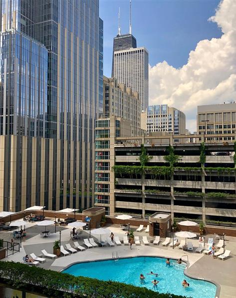 Balcony view of pool at Hilton Grand Vacations Chicago Downtown /Magnificent Mile located in Illinois.
