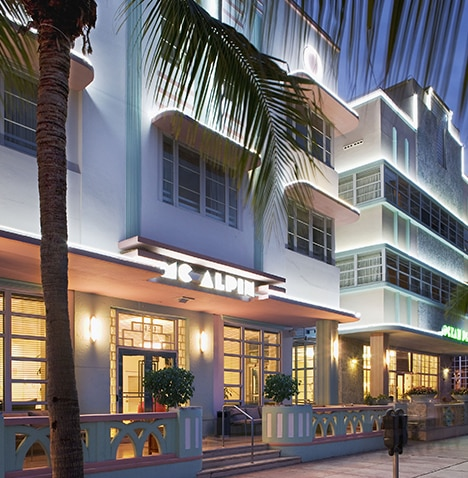 Exterior of Hilton Grand Vacations at McAlpin-Ocean Plaza located in Miami, Florida.