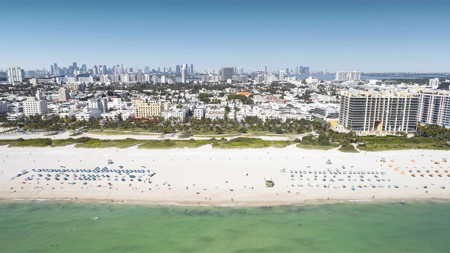 Aerial view of the ocean and beach at Hilton Grand Vacations at McAlpin-Ocean Plaza located in Miami, Florida.