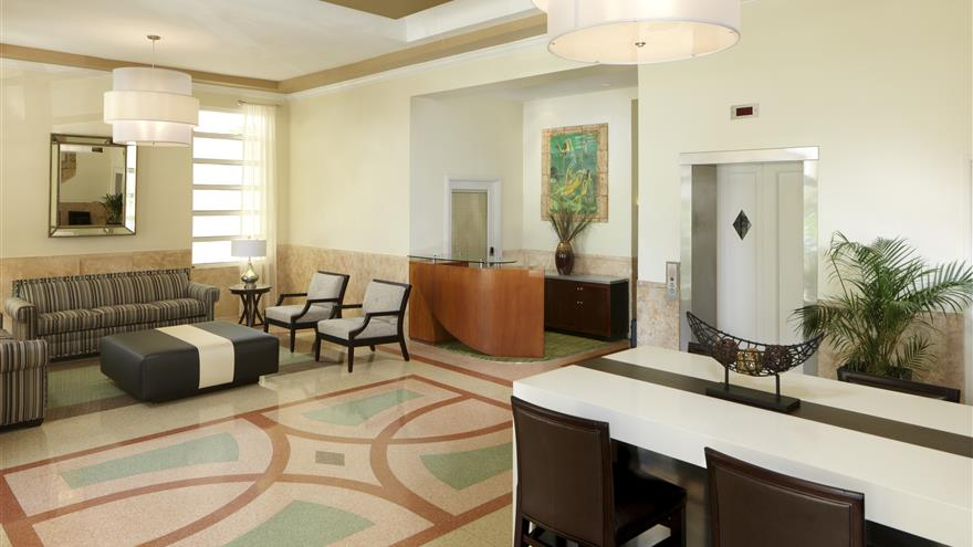 Lobby at Hilton Grand Vacations at McAlpin-Ocean Plaza located in Miami, Florida.