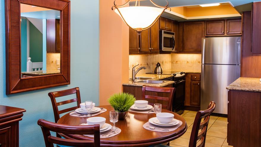 Dining area and kitchen at Plantation Beach Club at Indian River Plantation