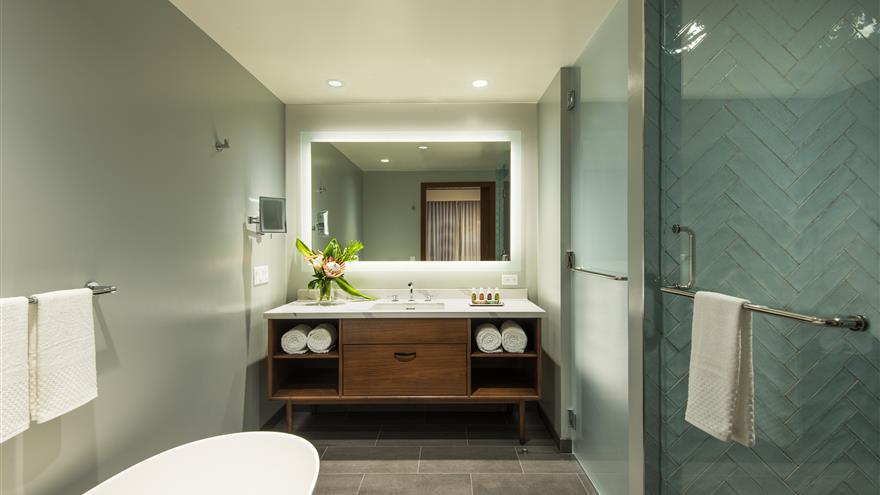Bathroom at Maui Bay Villas by Hilton Grand Vacations located in Maui, Hawaii.