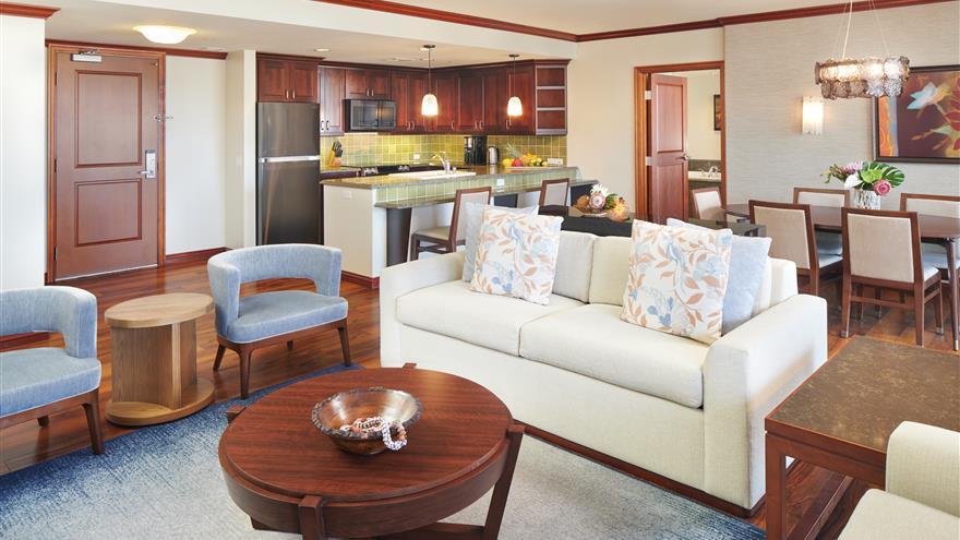 Living and dining area at Grand Waikikian by Hilton Grand Vacations located at Waikiki Beach, Oahu, Hawaii.