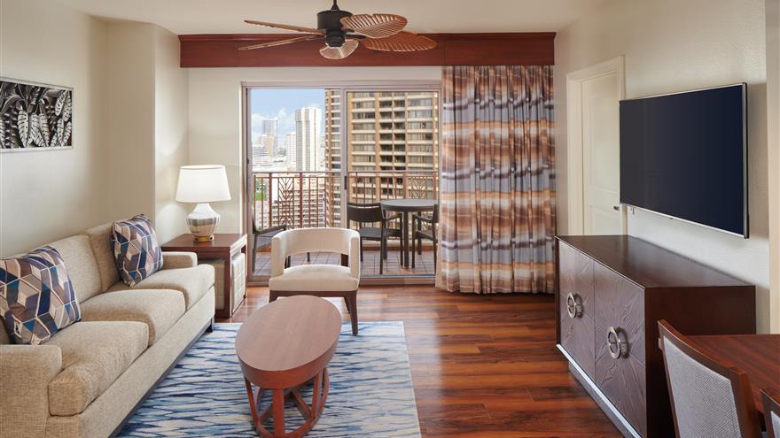 Living area at Grand Waikikian by Hilton Grand Vacations located at Waikiki Beach, Oahu, Hawaii.