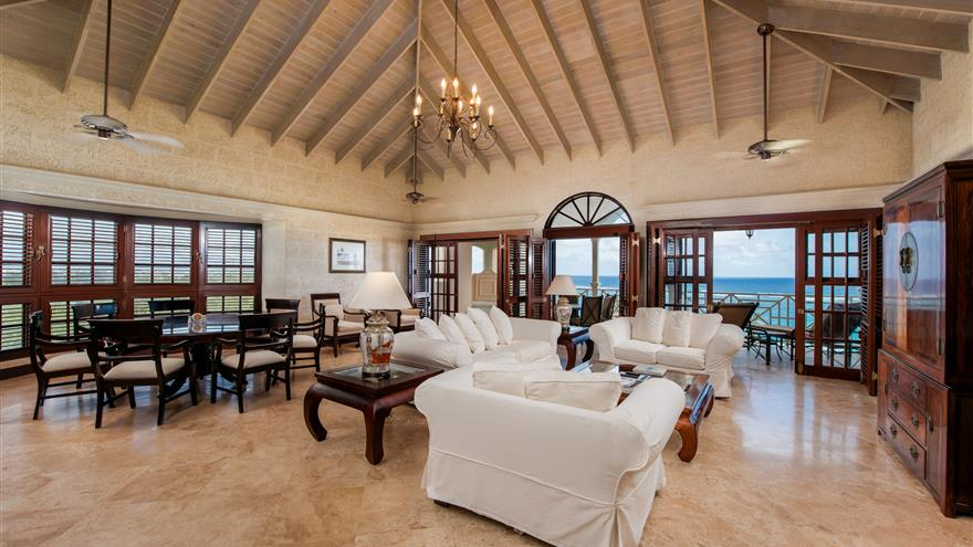 Penthouse living room at Hilton Grand Vacations at The Crane located in St. Phillip, Barbados.