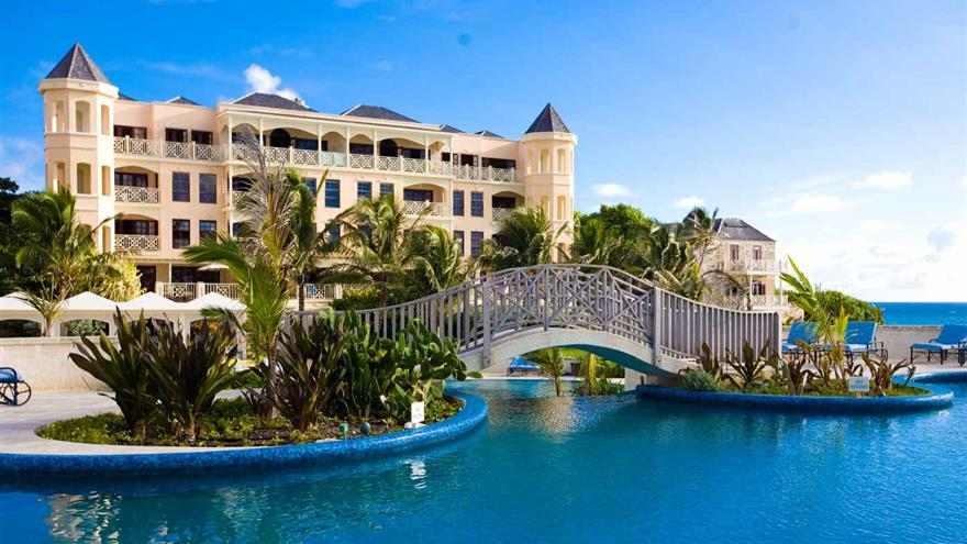 Archway over pool at Hilton Grand Vacations at The Crane located in St. Phillip, Barbados.