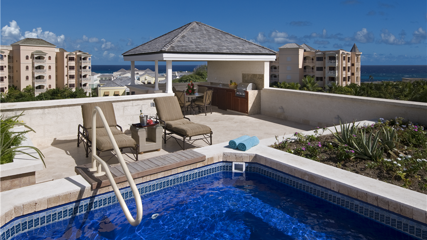 Rooftop pool and deck at Hilton Grand Vacations at The Crane located in St. Phillip, Barbados.