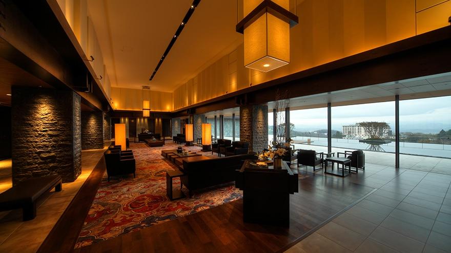 Lobby at Arima Rokusai Hotel Harvest located in Kobe, Hyogo, Japan.