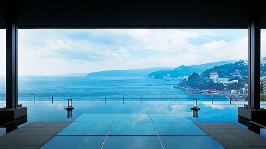 View of Japan from balcony at Hotel Harvest Atami Izusan located in Atami, Shizuoka, Japan.