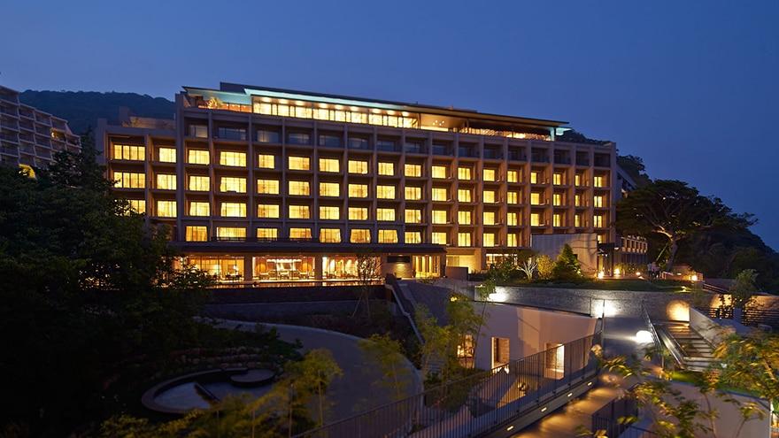 Exterior view of Hotel Harvest Atami Izusan located in Atami, Shizuoka, Japan.