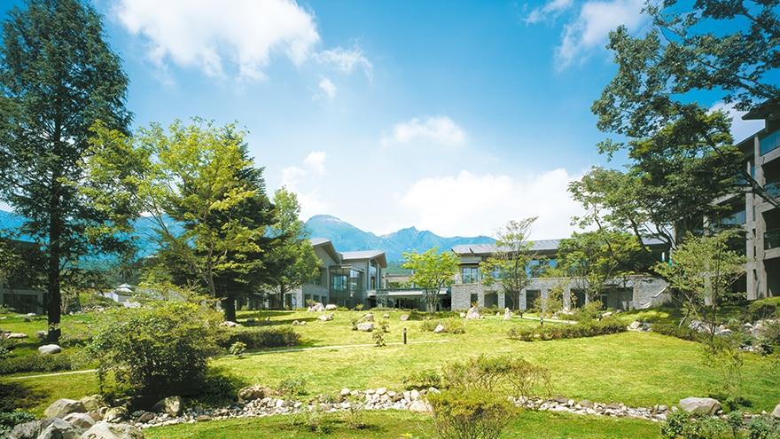 Exterior view of forest around Hotel Harvest Nasu located at Tochigi, Japan.