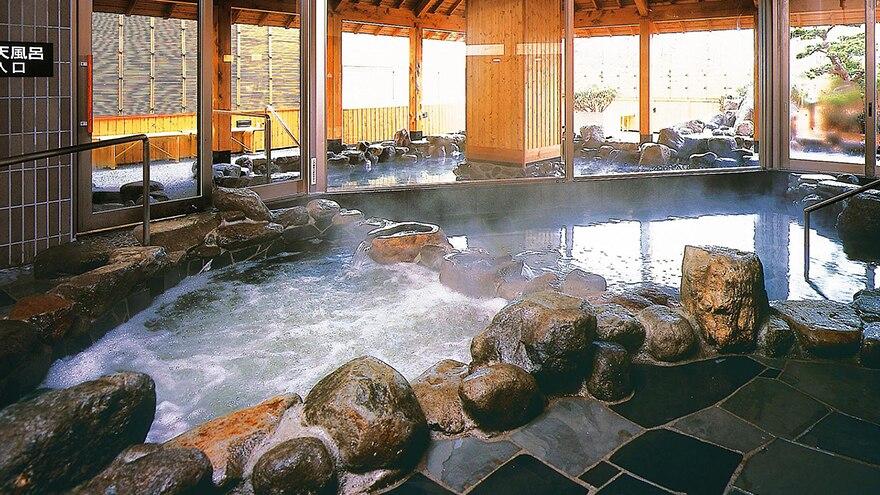 Indoor hot springs at Hotel Harvest Tateshina located at Chino, Nagano, Japan.