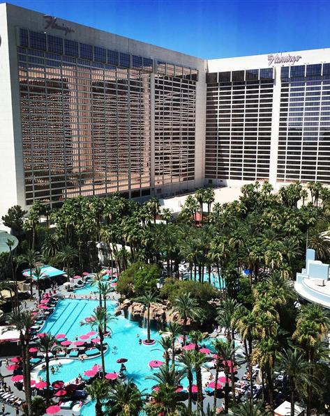 Balcony view of courtyard and pool at Hilton Grand Vacations at the Flamingo located at Las Vegas, Nevada.
