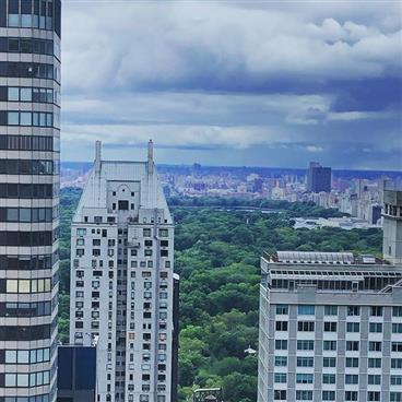 View of New York City skyline from a balcony