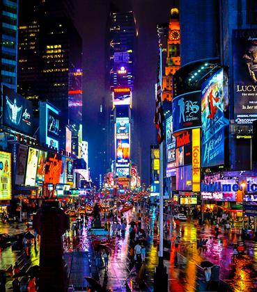 New York City lit up colorfully at night