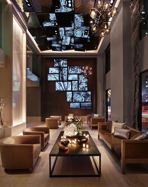 Lobby at The Quin by Hilton Club located in New York.