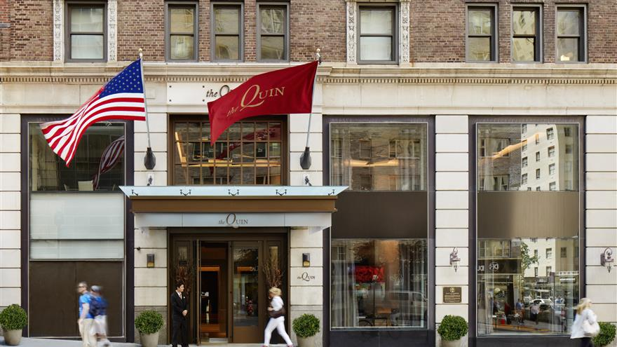 Front entrance of The Quin by Hilton Club located in New York.