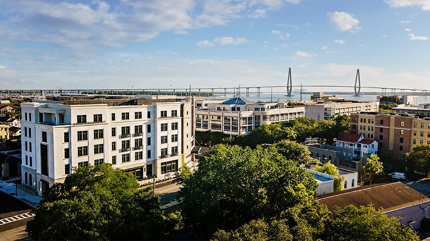 Aerial view of Liberty Place Charleston by Hilton Club located in South Carolina.
