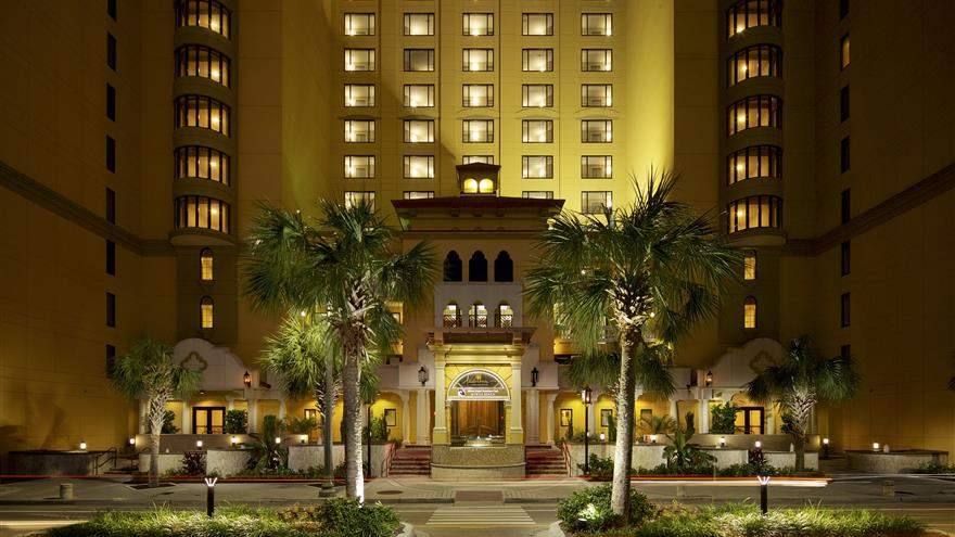 Exterior view of entrance of Hilton Grand Vacations at Anderson Ocean Club located in Myrtle Beach, South Carolina.