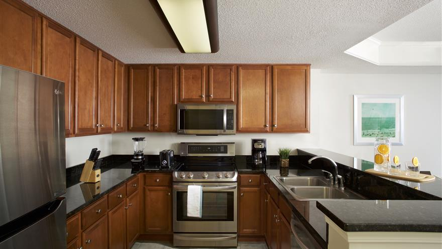Kitchen at Hilton Grand Vacations at Anderson Ocean Club located in Myrtle Beach, South Carolina.