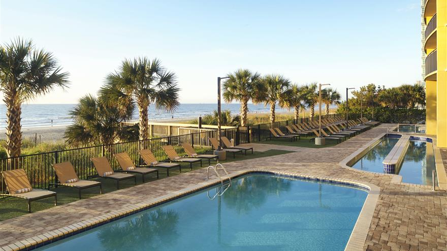 Pool and beach view at Hilton Grand Vacations at Anderson Ocean Club located in Myrtle Beach, South Carolina.