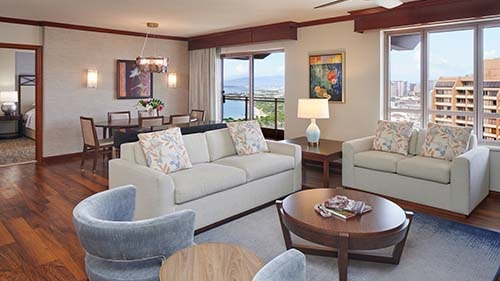 Grand Waikikian by Hilton Grand Vacations Club Living Area