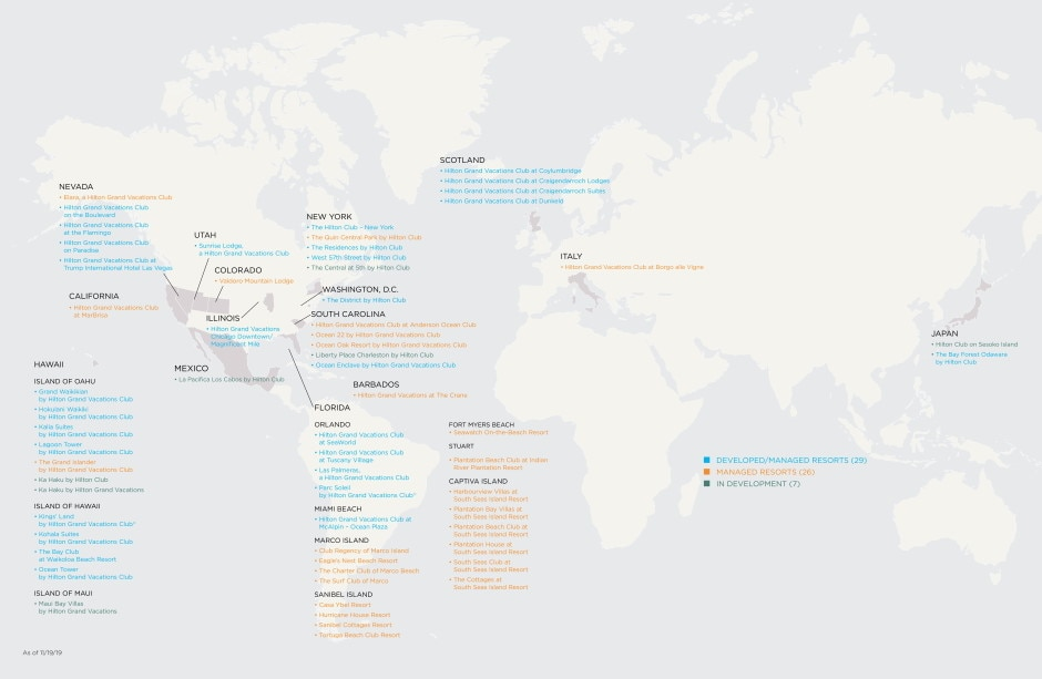 Hilton Grand Vacations - Our Destinations Map