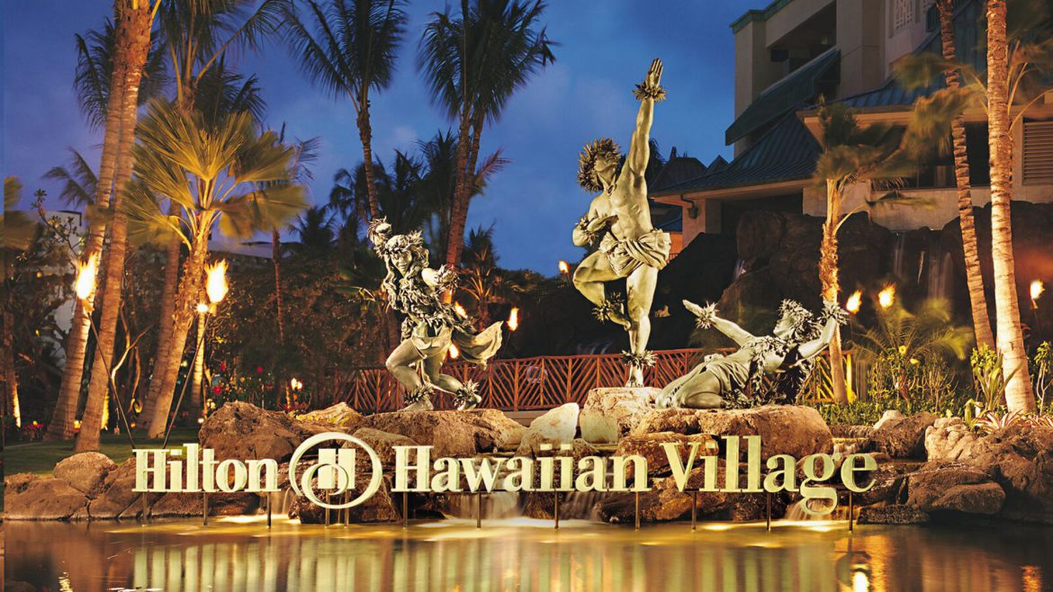 Entryway to the Hilton Hawaiian Village in Honolulu, Hawaii