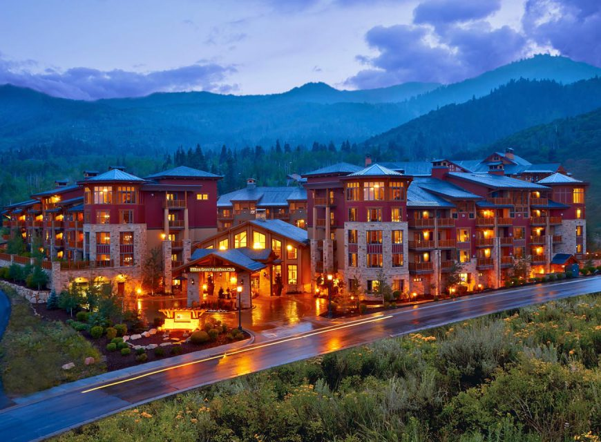 Sunrise view of the Sunrise Lodge, a Hilton Grand Vacations Club in Park City, Utah